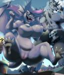 big_breasts black_hair breasts dragon ear_fins fangs female fin group hair hi_res horn inu-jean larger_female macro male mario mario_bros navel nintendo nipples nude pipe purple_hair pussy scalie size_difference smaller_male smile super thick_thighs thwomp tongue tongue_out video_games white_hair wide_hips  Rating: Explicit Score: 21 User: I'm_going_home Date: December 25, 2014