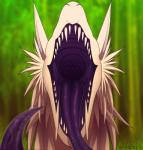 2015 acedia dragon female feral fluffy fur furred_dragon hair kanevex looking_at_viewer open_mouth ren_lley scalie simple_background solo teeth tongue vore white_fur  Rating: Questionable Score: 9 User: kanevex Date: October 06, 2015