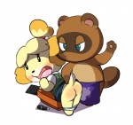 angry animal_crossing anthro bent_over black_eyes black_nose blue_eyes blush brown_fur butt canine clothing dog duo female fur hair hair_ornament isabelle_(animal_crossing) looking_back male mammal nintendo open_mouth panties plain_background short_hair spanking spanking649 tanuki tom_nook_(animal_crossing) tongue underwear video_games yellow_fur  Rating: Questionable Score: 10 User: ChunkyLover53 Date: May 16, 2015""
