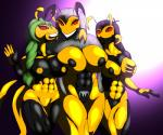 antennae anthro arthropod big_breasts black_skin breast_squish breasts eye_contact female grin group hair insect nipples pubes red_eyes saesar smile teeth wasp yellow_skin  Rating: Questionable Score: 1 User: saesar Date: November 18, 2015