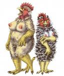 anthro avian beak bird breasts brown_eyes bubonikku chicken chubby claws duo erect_nipples eyelashes feathers female looking_at_viewer nipples nude open_mouth overweight scales simple_background talons tongue white_background yellow_sclera  Rating: Questionable Score: 3 User: chdgs Date: October 04, 2015
