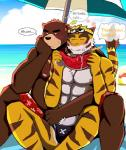 abs anthro ball beach beach_ball bear bearlovestiger13 biceps big_muscles brown_fur chest_tuft clothed clothing duo eyes_closed feline food fruit fur juuichi_mikazuki male mammal melon morenatsu muscular muscular_male nipples outside pecs seaside swimsuit tiger topless torahiko_(morenatsu) tuft watermelon  Rating: Questionable Score: 3 User: Vallizo Date: August 10, 2015