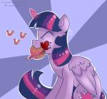 burger cutie_mark eating equine eyes_closed female food friendship_is_magic fur hair horn mammal multi-colored_hair my_little_pony purple_fur purple_hair solo twilight_sparkle_(mlp) winged_unicorn wings wizardglitter   Rating: Safe  Score: 10  User: Lunaz  Date: April 11, 2014