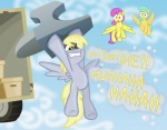 2011 alevgor anvil blonde_hair boxes cloud cloudscape cool_colors cutie_mark cyan_hair derpy_hooves_(mlp) english_text equine female feral flying friendship_is_magic group hair insane mammal my_little_pony outside pegasus pink_hair raindrops_(mlp) shocked sky text truck vehicle wings yellow_eyes  Rating: Safe Score: 11 User: Princess_Luna Date: August 01, 2011