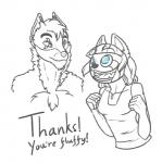 anthro blue_eyes canine duo english_text female feretta feretta_(character) happy male mammal monochrome red_panda scar simple_background smile text tumblr white_background wolf  Rating: Safe Score: 2 User: NotMeNotYou Date: April 13, 2014