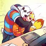 anthro bear black_nose clothed clothing computer duo eyes_closed fur hoodie hug licking male male/male mammal panda pants shirt shorts sitting smile standing super-tuler sweater sword tablet tairu teeth tongue tongue_out weapon   Rating: Safe  Score: 12  User: Notkastar  Date: May 15, 2015