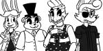 2016 animatronic anthro avian bear bird black_and_white bonnie_(fnaf) buckteeth canine chica_(fnaf) chicken clothed clothing eye_patch eyewear female five_nights_at_freddy's fox foxy_(fnaf) freddy_(fnaf) group hat inkyfrog lagomorph looking_at_viewer machine male mammal monochrome rabbit robot simple_background smile teeth top_hat video_games white_backgroundRating: SafeScore: 1User: JAKXXX3Date: June 25, 2017