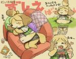 animal_crossing belly blonde_hair canine chubby dog eating eyes_closed female fur hair isabelle_(animal_crossing) japanese_text kemono mammal navel nintendo overweight sleeping stuck text translation_request video_games yellow_fur 宇月まいと   Rating: Questionable  Score: 4  User: KemonoLover96  Date: May 10, 2015