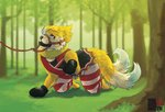 anthro bdsm bigredakita bit_gag blue_eyes bottomwear buizel chastity_cage chastity_device clothed clothing crawling fluffy fluffy_tail forest gag gagged genitals grass harness harness_bit_gag harness_gag hi_res leash leg_warmers legwear looking_up male mitts muzzle_(object) nature nintendo outside penile penis petplay pokémon pokémon_(species) roleplay sex_toy skirt solo submissive submissive_male tree unseen_character vibrator vibrator_on_penis video_games