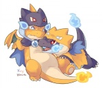 <3 alasurth ambiguous_gender blue_eyes charizard cosplay cute dragon duo fire mega_charizard mega_charizard_x mega_charizard_y mega_evolution nintendo open_mouth pokémon red_eyes scalie teeth tongue video_games   Rating: Safe  Score: 9  User: DeltaFlame  Date: February 18, 2015
