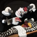 2017 ambiguous_gender anthro autopsy avian beak bearded_vulture bird black_fur black_stripes cape_vulture corpse death digital_media_(artwork) digital_painting_(artwork) doctor equine faceless_ambiguous feathers fur gore grey_beak group guts hi_res hladilnik humanoid_hands inspired_by_proper_art intestines lol_comments lying male mammal multicolored_fur nipples nude on_table open_mouth palm-nut_vulture paper pencil_(object) standing stripes studying table tan_beak tongs towel turkey_vulture two_tone_fur vulture white_beak white_feathers white_fur worried writing_text yellow_sclera zebra