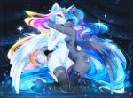 abstract_background anthro anthrofied blue_hair blue_skin breasts clothing crown cutie_mark duo equine female friendship_is_magic hair half-closed_eyes hi_res horn hug kneeling koveliana legwear looking_at_viewer mammal multicolored_hair my_little_pony nude princess_celestia_(mlp) princess_luna_(mlp) smile thigh_highs two_tone_hair white_skin winged_unicorn wings  Rating: Questionable Score: 42 User: EmoCat Date: November 03, 2015