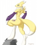 anthro bandai black_sclera blue_eyes breasts digimon female fur looking_at_viewer nude pinup plain_background pose renamon side_boob solo white_fur yellow_fur zaggatar   Rating: Questionable  Score: 14  User: houseboat  Date: March 01, 2015