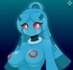 2015 bellaria blue_hair blue_skin breasts bronzong featureless_breasts female hair humanoid jewelry looking_at_viewer metal necklace nintendo not_furry pokémon pokémon_(species) razplus red_eyes red_sclera simple_background smile solo video_games watermark