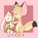 albino belt blush canine collar cub eyes_closed fennec fox fur happy hug kissing lagomorph mammal melissar1 rabbit sheath smile sword weapon white_fur yellow_fur young   Rating: Safe  Score: 4  User: stickypaws  Date: April 11, 2014