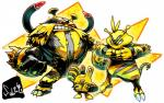 ambiguous_gender anthro electabuzz electivire elekid hi_res nintendo pokémon red_eyes sido simple_background video_games white_background