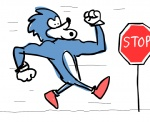 """animated anthro blue_hair clothing footwear hair hedgehog humor male mammal running shoes sign sonic_(series) sonic_the_hedgehog stop_sign  Rating: Safe Score: 2 User: Robinebra Date: March 23, 2012"""""""