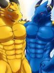 2014 abs anthro arm_around_shoulders biceps big_muscles blue_body blue_dragon_(character) blue_dragon_(series) blue_eyes blue_skin bulge claws dragon duo fangs fist front_view grin happy horn jewelry male male/male manly muscles nude pecs pose red_eyes ring rudolph_(blue_dragon) ryuukikeito scales scalie sharp_claws sharp_teeth slit smile spikes standing teeth toned yellow_body yellow_skin  Rating: Safe Score: 8 User: WiiFitTrainer Date: July 16, 2014""