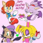 <3 anthro archie_comics blaze_the_cat blue_eyes blush brown_fur bunnie_rabbot cat chipmunk clothing cute cybernetics cyborg drawfag feline female forehead_gem fur gift group happy hat hi_res holidays lagomorph lynx machine mammal nicole_the_lynx one_eye_closed purple_fur rabbit rodent sally_acorn smile sonic_(series) squirrel valentine's_day video_games wink yellow_eyes  Rating: Safe Score: 11 User: ROTHY Date: May 15, 2015