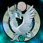 2017 ambiguous_gender blue_eyes dragon feathered_wings feathers fennecsilvestre feral grey_scales mercury_(planet) personification scales solo virgo_(symbol) virgo_(zodiac) wings