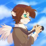 5_fingers anthro blue_eyes brown_hair clothed clothing day feathered_wings feathers feline hair hi_res holding_object hybrid mammal outside rikitoka sky smile solo wingsRating: SafeScore: 1User: MillcoreDate: May 29, 2017