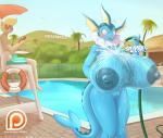 2017 anthro anthrofied areola big_breasts blonde_hair blue_nipples blue_skin blush breast_expansion breasts bulge clothed clothing duo eeveelution english_text erection erection_under_clothes eyewear female fence fin hair hose huge_breasts hyper hyper_breasts inflation linoone lysergide male nintendo nipples nude outside palm_tree patreon pokémon pokémorph pussy shorts sign smile sunglasses swimming_pool tenting text tree umbrella vaporeon video_games water wet wide_hipsRating: ExplicitScore: 56User: GameManiacDate: January 07, 2017