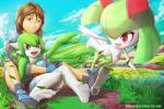 breasts brown_hair cloud cute eyelashes female gardevoir grass green_eyes green_hair group hair heterochromia human kirlia long_hair male mammal masterploxy nintendo open_mouth outside pokémon red_eyes sitting sky smile teeth tongue video_games watermark   Rating: Safe  Score: 7  User: DeltaFlame  Date: April 11, 2015