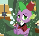 dragon friendship_is_magic green_eyes kas92 looking_at_viewer male my_little_pony pipe scalie solo spike_(mlp)  Rating: Safe Score: 8 User: darknessRising Date: May 14, 2013