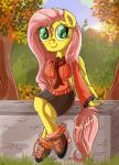 2015 anthro anthrofied autumn blue_eyes clothing daniel-sg equine female fluttershy_(mlp) friendship_is_magic hair mammal my_little_pony pegasus pink_hair sitting solo wings  Rating: Safe Score: 2 User: 2DUK Date: October 08, 2015