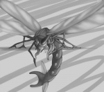 animal_genitalia animal_penis arthropod dragonfly erection feral grey_background insect insect_wings male masturbation membranous_wings monochrome nintendo nude penis phinja pokémon simple_background solo tongue tongue_out video_games wings yanmega
