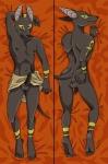anthro anubis canine clothing dakimakura_design deity dreaddenimpirate egyptian jackal loincloth male mammal multiple_poses nipple_piercing nipples penis piercing pose solo watermark  Rating: Explicit Score: 10 User: Nativus Date: November 27, 2014