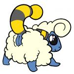 all_fours black_eyes caprine female feral fur looking_back mammal mareep nintendo pokémon pussy raised_tail sheep simple_background smile solo trout_(artist) video_games white_background white_fur