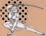 abs breasts crouching female hooves horn katana looking_at_viewer minotaur missoro nude solo sword weapon   Rating: Questionable  Score: 19  User: ippiki_ookami  Date: March 06, 2014