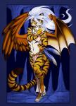 anthro clothed clothing cybercat feathered_wings feathers feline female hair hi_res hybrid loincloth looking_at_viewer loose_feather mammal membranous_wings mismatched_wings smile solo standing tiger white_hair wings
