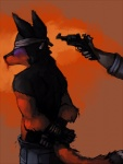 beaten blindfold blood bound canine clothed clothing cross_fox fox gore gun handgun human male mammal nosebleed ranged_weapon revolver skift snuff speedpaint thekyleishere topless weapon  Rating: Questionable Score: 3 User: Shenzi Date: September 22, 2011
