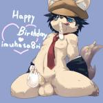 <3 anthro balls black_hair blue_background blue_eyes bottomless canine clothed clothing condom cub cum cum_on_face dog english_text erection eyewear filled_condom fur glasses hair half-dressed hat jacket kemono kneeling licking licking_lips male mammal necktie nipples noriburu partially_clothed penis plain_background shota sitting solo tan_fur text tongue tongue_out undressing vein veiny_penis white_fur young  Rating: Explicit Score: 4 User: atatat Date: May 17, 2015""