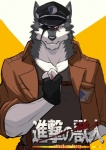anthro attack_on_titan black_nose canine clothed clothing drks eye_patch eyewear fur gloves hat hi_res jacket looking_at_viewer male mammal pointy_ears salute scar soldier solo teeth white_fur wolf