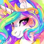 2018 animated blinking crown cute equine eyebrows eyelashes eyes_closed female feral friendship_is_magic grin hair headshot_portrait horn inner_ear_fluff long_hair looking_at_viewer makeup mammal mascara multicolored_hair my_little_pony portrait princess_celestia_(mlp) purple_eyes rainbow_hair royalty smile solo sparkles teeth wilvarin-liadon