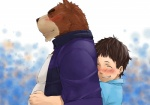 anthro bear belly biceps blue_shirt blush brown_fur brown_hair chubby clothing couple digital_painting_(art) duo eyes_closed friends fur gay grin grizzly_bear hair happy hiroyuki hug hug_from_behind human juuichi_mikazuki male mammal mennsuke morenatsu purple_jacket side_view size_difference smile tan_fur white_shirt young   Rating: Safe  Score: 3  User: terminal11  Date: July 15, 2013
