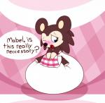 2015 abstract_background animal_crossing apron blush brown_fur clothing dialogue diaper embarrassed english_text female fur hi_res nintendo one_eye_closed open_mouth puffy sable_able sir-dancalot solo tan_fur text video_games  Rating: Questionable Score: 0 User: Mur Date: September 07, 2015