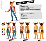 activision anthro athletic_shorts bandicoot bottomwear boxers_(clothing) brown_hair cellphone clothed clothing crash_bandicoot_(series) denim denim_clothing english_text fan_character food footwear fruit hair hi_res jeans jock letterman_jacket magaska19 male mammal marsupial megumi_bandicoot model_sheet number pants phone plant shirt shoes shorts smartphone sneakers solo tank_top text topwear underwear video_games wumpa_fruit