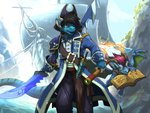 anthro black_hair blue_body blue_fur book claws clenched_teeth clothed clothing detailed_background dota2 fangs fire fur hair holding_object holding_weapon horn link2004 male melee_weapon one_eye_closed open_mouth open_smile pirate purple_hair safur ship smile solo sword teeth vehicle watercraft weapon wings yellow_eyes