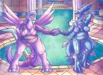 2015 anthro bikini bow breasts clothing dialga dragon duo female hand_holding legendary_pokémon nintendo nipples open_mouth overweight palkia patohoro pokémon pokémon_(species) pussy red_eyes ribbons scalie swimming_pool swimsuit tail_bow tail_ribbon translucent transparent_clothing video_games waterRating: ExplicitScore: 3User: Nicklo6649Date: April 30, 2018