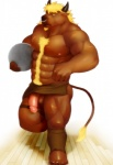 """2014 abs anthro ball balls blonde_hair body_hair bovine brown_fur butt cattle chest_hair clothed clothing facial_hair facial_piercing fist frown fur goatee greaves hair half-dressed half-erect happy_trail horn humanoid_penis iceman1984 kemono loincloth looking_at_viewer male mammal muscles nipples nose_piercing nose_ring on_one_leg pecs penis penis_slip piercing poking_out retracted_foreskin scar solo standing tail_tuft topless tuft uncut underwear wood yellow_eyes  Rating: Explicit Score: 4 User: atatat Date: July 05, 2015"""""""