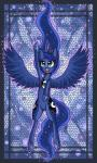 2014 blue_eyes blue_feathers blue_fur blue_hair crown cutie_mark digital_media_(artwork) equine female feral friendship_is_magic fur hair hi_res horn horse long_hair magic mammal my_little_pony nude pony princess_luna_(mlp) raptor007 solo winged_unicorn wings   Rating: Safe  Score: 2  User: GameManiac  Date: March 27, 2015
