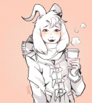 aryllins asriel_dreemurr beverage black_eyes blush boss_monster caprine claws clothing coat coffee cup fangs food fur goat happy looking_at_viewer male mammal scarf signature simple_background smile smoke solo standing starbucks undertale video_games white_fur  Rating: Safe Score: 22 User: Cαnε751 Date: February 10, 2016