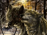 absurd_res ambiguous_gender canine couple detailed_background duo feathers forest green_eyes hi_res jewelry kissing licking mammal nature outside scar scenery smile snow snowing tongue tongue_out tree were werewolf wolf wolfroad wood yellow_eyes  Rating: Safe Score: 17 User: slyroon Date: July 05, 2013