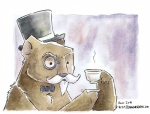 2011 anthro astolpho beard beverage bow_tie brown_fur coffee cup eyewear facial_hair food fur hat holding_cup male mammal monocle mustache painting_(artwork) solo tea_cup traditional_media_(artwork) ursid watercolor_(artwork)