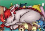 2017 3_toes asbel_lhant bed blush charmeleon chespin drowzee eyes_closed feral fur furret group hair horn litleo nap navos nintendo pillow plushie pokémon shinx simple_background sleeping smile toes typhlosion video_games
