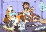 4_toes anthro barefoot big_breasts bikini bodily_fluids breasts brown_body brown_fur brown_hair canid canine claws clothing convention ear_piercing ear_ring feet feet_up female foot_focus fox fur group hair herro hyaenid juno_lilikoi lanyard male mammal navel open_mouth orange_body orange_fur pawpads paws piercing sitting sleeping smile soles spots spotted_hyena sweat swimwear teeth toe_claws toes white_hair